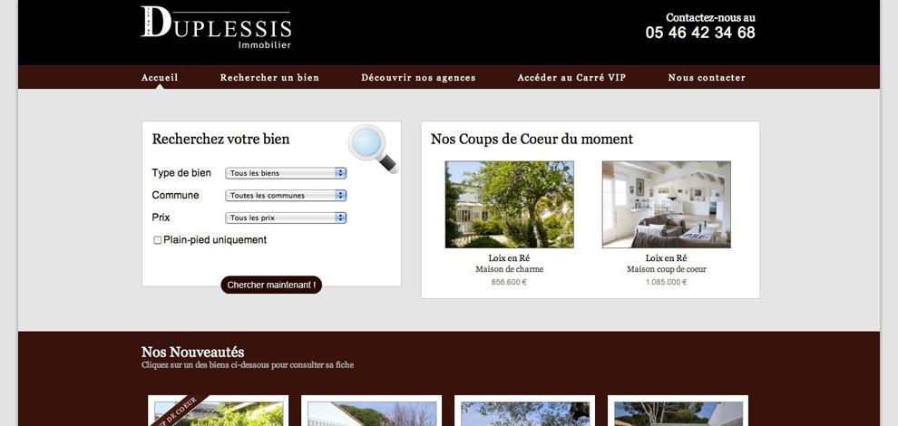 Création du site internet administrable, Duplessis Immobilier - #1