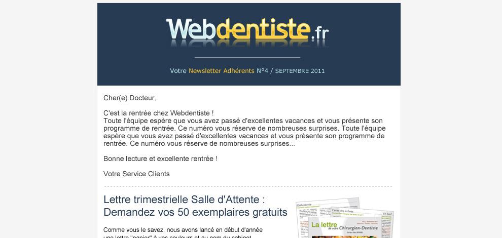 Réalisation d'une newsletter, Webdentiste - #1